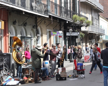 New Orleans, creativity, street music, band, French Quarter, Bourbon Street, girls weekend, tuba, trombone, trumpet