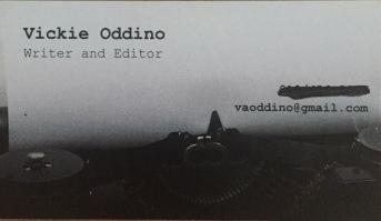 business card, freelance writer, writer, editor, Vickie Oddino