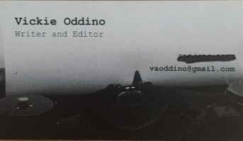 business card, freelance writer, writer, editor, Vickie Oddino